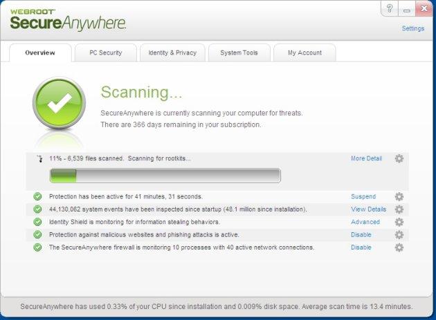 Webroot Scan bezig