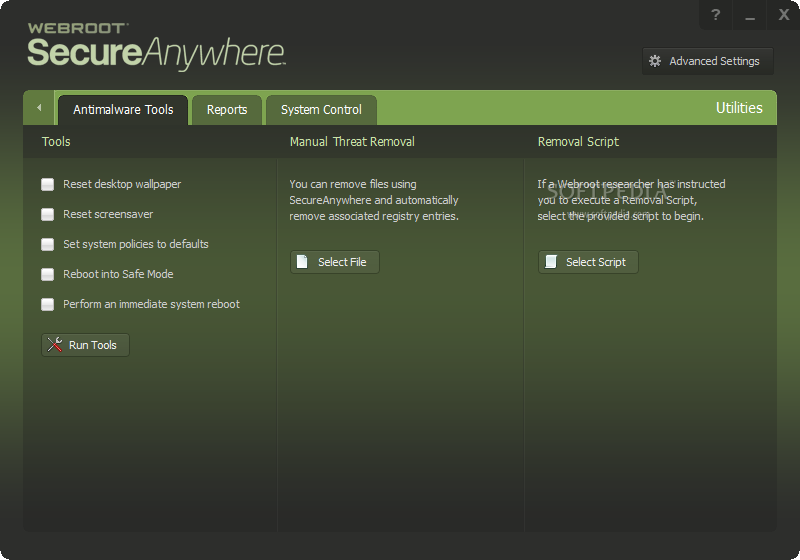 Webroot Secure Anywhere AntiVirus Scherm