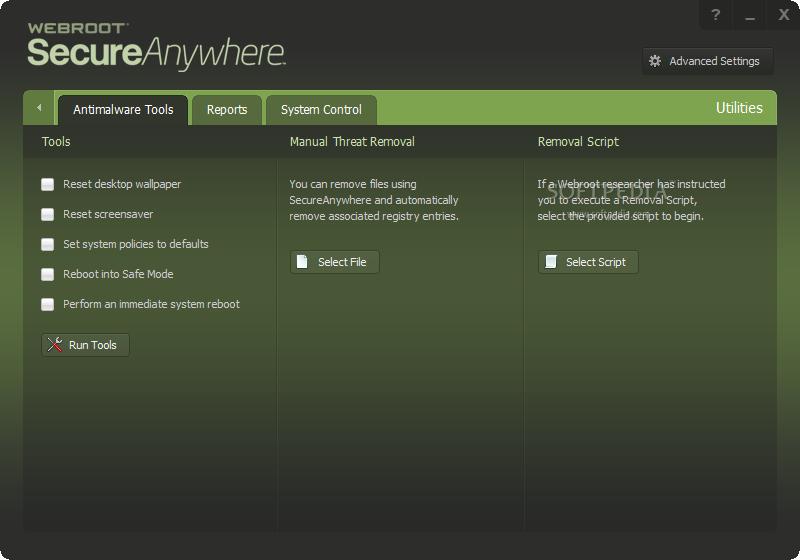 Webroot Secure Anywhere AntiVirus Scherm