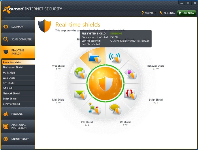 Avast internet security stat scherm